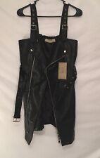 Sexy Women PU Leather Zipper Mini Dress  Glam rock Style XL