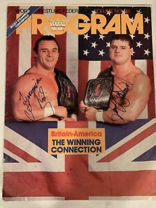 British Bulldogs Signed WWF Program Cover PSA/DNA Coa Davey Boy Smith Dynamite