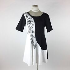 Eshakti Black Floral Dress Sz 14 Embroidered White Color Block 50s Style