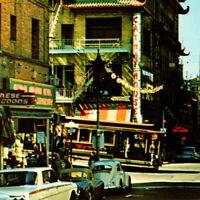 Vintage 1960s Chinatown Grant Avenue Cars Pagoda Postcard San Francisco Cablecar