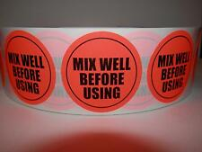 """MIX WELL BEFORE USING 1 3/4"""" circle Sticker Label fluorescent red 250/rl"""