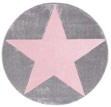Kinderteppich Happy Rugs Star Silbergrau/rosa 133cm rund