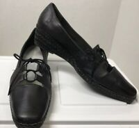 David Tate Black Leather Lace Up Low Wedge Shoes Women's Size 8 Narrow