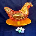VTG TIN LITHO WYANDOTTE MECHANICAL EASTER TOY, RED HEN LAYING EGGS MADE USA