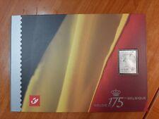 BELGIE 175 JAAR ZILVEREN ZEGEL + BLOK in speciaal carnet-blister