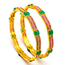 Bangles 2.6 Inch One Two Gram Gold Plated Ruby Emerald Ad Jade Jewelry Set 7347