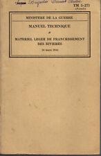 TM 5-271 Manuel Technique / Materiel leger de franchissement des rivieres 1944