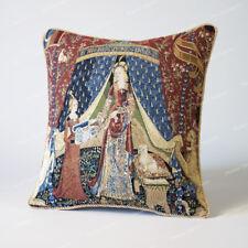 "Jacquard Weave Tapestry Pillow Cushion Cover Lady & Unicorn - Desire 18""x18"", AU"
