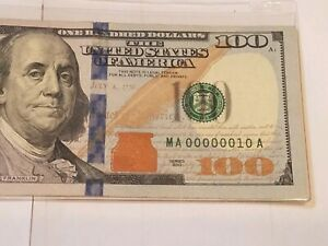 Rare, Wow! 100 Dollar Bill, Very Low Serial Number, Binary #MA 00000010 A 2013