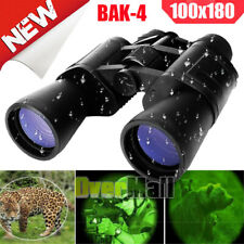 Day/Night 100x180 Military Binoculars Zoom Full Size Bak4 Optics Hunting Camping