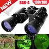 Day/Night 100x180 Military Binoculars Zoom Full Size BAK4 Optics Hunting Camping