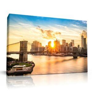 "BROOKLYN BRIDGE Manhattan NEW YORK Sunset Canvas Print Wall Art 30x20"" (76x51cm)"