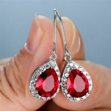 4Ct Pear Cut Red Ruby & Diamond Halo Drop & Dangle Earrings 14K White Gold Over