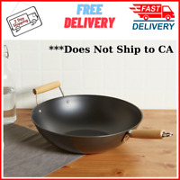 Wok 13.75-Inch Non-Stick Chinese Food Frying Pan Durable Carbon Steel, Black