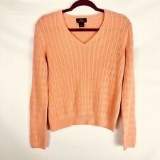 a3e31a50c08436 Brooks Brothers Cable Knit Sweater Cotton Cashmere V-neck Peach Size Large