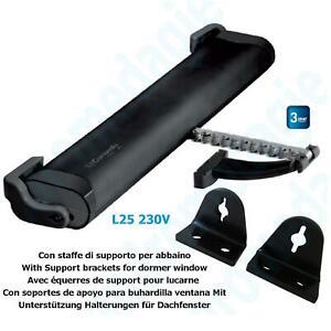 LIWIN 250N 230V BLACK + SUPPORT BRACKETS FOR DORMER WINDOW BLACK Mowin Automatio