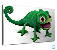 Funny Green Chameleon From Tangled Digital Art Canvas Print Wall Art Picture