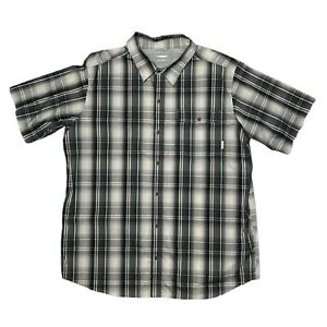 Columbia Titanium Size 2XL Short Sleeve Button Up Shirt Grey Check Mesh Panel