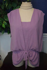 Stunning Women's Size L Lavender Blouse, bow, hi-low, professional,date,church