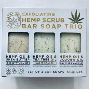 Home Body Hemp scrub exfoliating soap bar trio Shea Butter Tea tree Jojoba oil