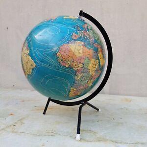Grand globe terrestre Cartes Taride, carton bouillie ,pieds tripodes,année50