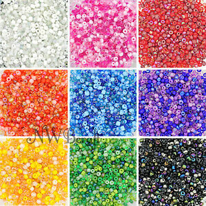 50g Glass Seed Beads 9 Mixed Colour Shades & Types, 2mm 3mm or 4mm, UK Stock
