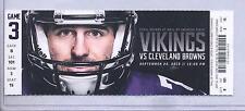Minnesota Vikings Cleveland Browns 9/22/13 Full Unused Ticket...Christian Ponder