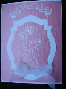Handmade Mother's Day Card Made With Stampin Up Flowers Rhinestones Spellbinders