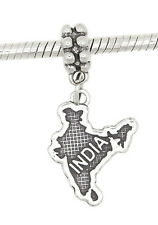 STERLING SILVER DANGLE INDIA COUNTRY MAP EUROPEAN  BEAD
