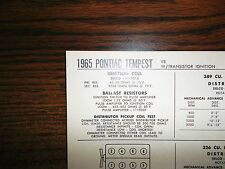 1965 Pontiac Tempest Series 326 & 389 V8 w/TI SUN Tune Up Chart Great Condition!