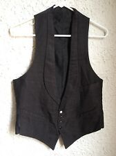 Vtg 1920s Rosenwald & Weil Vest Western Saloon tuxedo black textured sz 34 XS