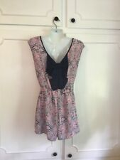Copper Key Pink And Navy Paisley Print Romper In Size Small