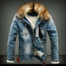 Men's Winter Warm Fur Collar Denim Jacket Fleece Thick Padded Coat Outwear Parka