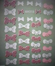 Pink and White Bows Glitter3D Design Nail Art Stickers Decals Decoration (Xh315)