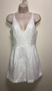 Kookai Romper White Crochet Romper, Size 40 / 12 AU (#783Z)