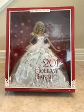 """New 2013 MATTEL Barbie """" Collector Holiday """" Blonde Barbie Doll - Silver Dress"""