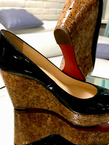 Christian Louboutin size 36 wedge patent black Coroclic