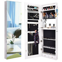 Full Length Mirror Jewelry Cabinet Wall Door Mounted Storage Organizer Armoire