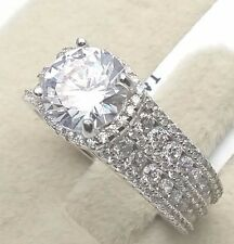Women Ladies Solid 925 Sterling Silver Cubic CZ Promise Wedding Engagement Ring