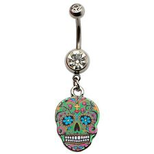 Belly Ring Sugar Skull Colorful w/Clear Gem Dangle Naval Steel Body Jewelry