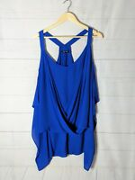 CITY CHIC Plus Size XS Royal Blue Sheer Sleeveless Blouse