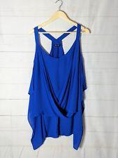 CITY CHIC Plus Size XS Royal Blue Sheer Sleeveless Blouse