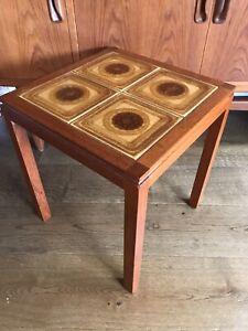 Mid Century Danish Teak Tiled Side Table Retro MCM Vintage 60's 70's Coffee Lamp