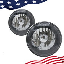 "7"" Inch Round Clear Lens Diamond Cut Projector Black Chrome Headlights"