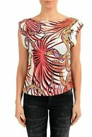 Just Cavalli Multi-Color Short Sleeve Women's Blouse Top US S IT 40