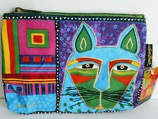Laurel Burch Whiskered Cats Vinyl lined Cosmetic Bag/Organizer