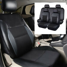 Pvc Leather Full set Car Seat Covers Black Cushion Protect Universal Interior