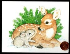 Linda K Powell Bunny Rabbit Doe Deer Friends Snow Small Note Greeting Card New