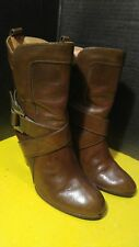 Women's Short Frye ANDREA MID Ankle Boots Brown Leather Heel Size 8.5