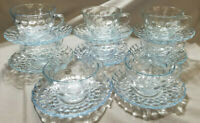 Vintage Anchor Hocking Depression Glass Bubble Blue - 16 pcs. (circa 1940s)